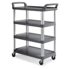 Carrinho quatro prateleiras estrutura em alumínio com rodízios