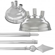 Kit contendo 3 Mastros em Alumínio com ponteira Lança + Base em latão Niquelado para 3 mastros