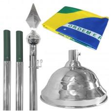 Kit contendo 1 Mastro em Alumínio com ponteira Lança Base em latão Niquelado para 1 mastro + Bandeira